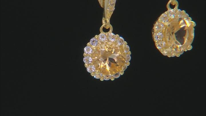 Yellow Brazilian Citrine 18k Yellow Gold Over Sterling Silver Dangle Earrings 1.35ctw