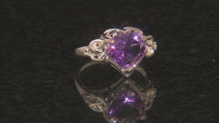 Purple Brazilian Amethyst Rhodium Over Sterling Silver Ring 2.45ctw