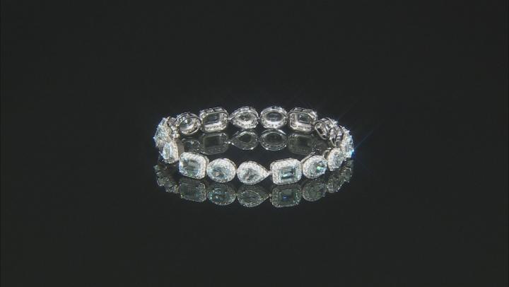 Blue Aquamarine Sterling Silver Bracelet 14.80ctw