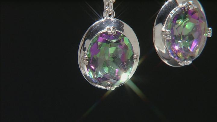 Multi Color Quartz Rhodium Over Sterling Silver Dangle Earrings 8.00ctw