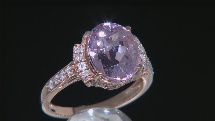 Pink Kunzite 14k Rose Gold Ring 5.52ctw