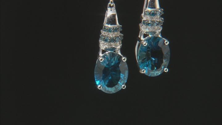 London Blue Topaz Rhodium Over 14k White Gold Earrings 5.86ctw