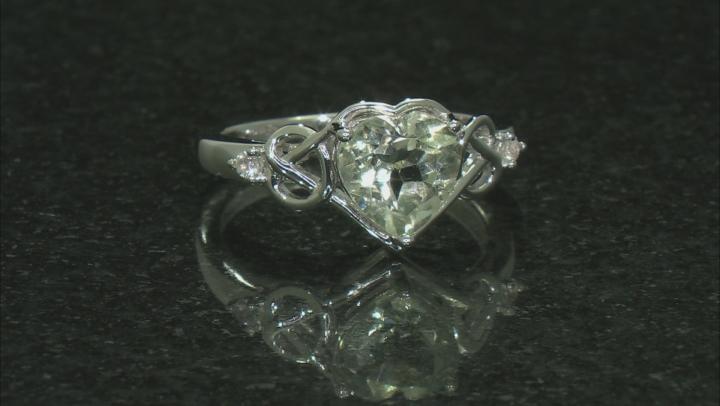 Green Prasiolite Rhodium Over Sterling Silver Heart Shape Ring 2.45ctw