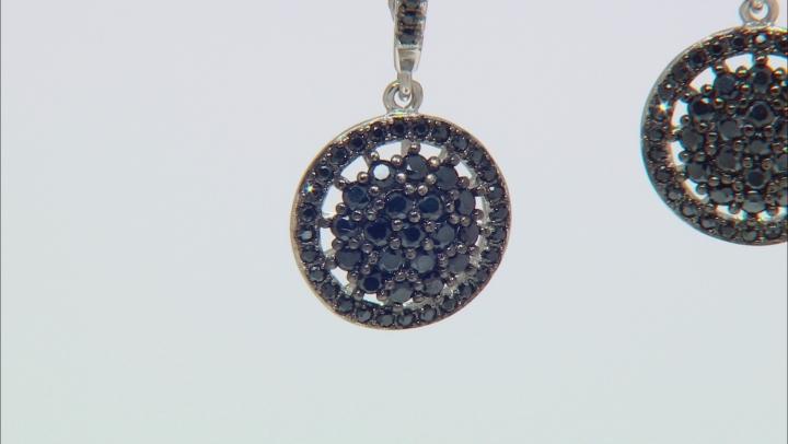 Black Spinel Sterling Silver Cluster Earrings 1.59ctw