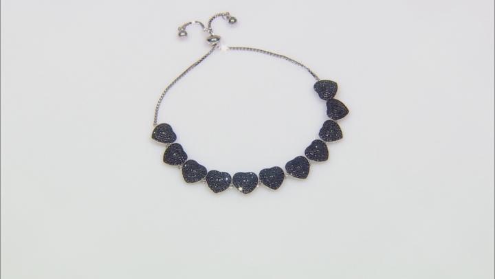 Black spinel rhodium over sterling silver bolo heart bracelet 2.42ctw