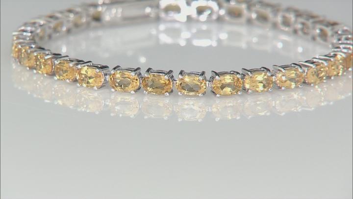 Yellow Brazilian Citrine Tennis Rhodium Over Sterling Silver Bracelet 12.35ctw