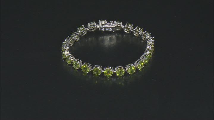 Green Peridot Rhodium Over Sterling Silver Bracelet 19.32ctw