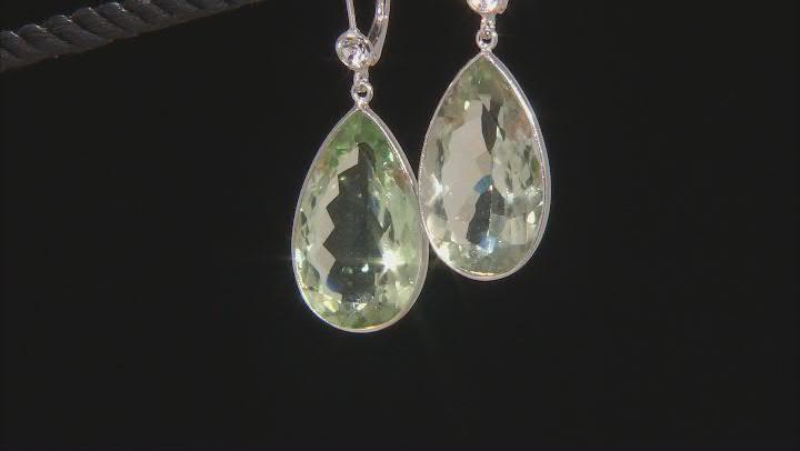 Green Prasiolite Rhodium Over Sterling Silver Teardrop Earrings 35.00ctw