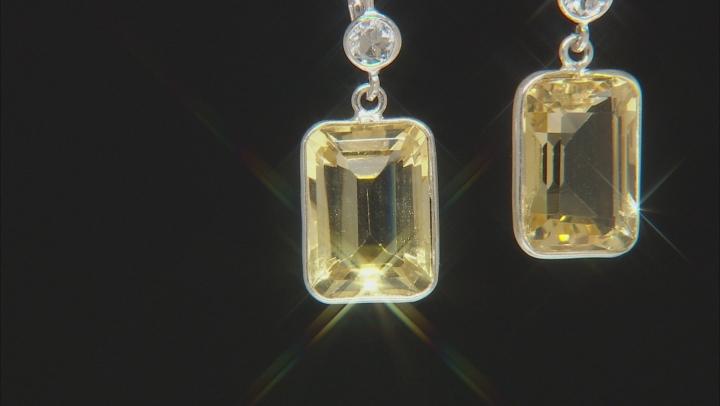 Yellow Brazilian Ctirine Sterling Silver Dangle Earrings 15.00ctw
