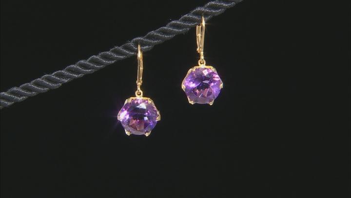 Purple Brazilian amethyst 18K yellow gold over sterling silver dangle earrings 10.00ctw