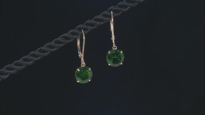 Green Russian chrome diopside 10K yellow gold dangle earrings 4.40ctw