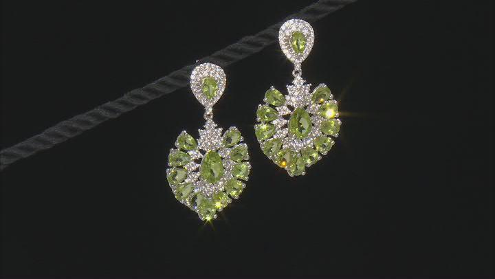 Green peridot sterling silver dangle earrings 15.94ctw