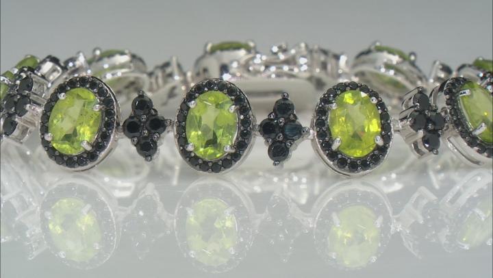Green Peridot Rhodium Over Sterling Silver Bracelet 17.25ctw