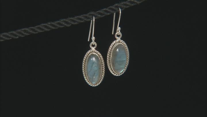Gray labradorite sterling silver dangle earrings