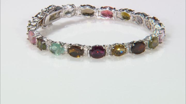 Multi Tourmaline Rhodium Over Sterling Silver Bracelet 20.85ctw