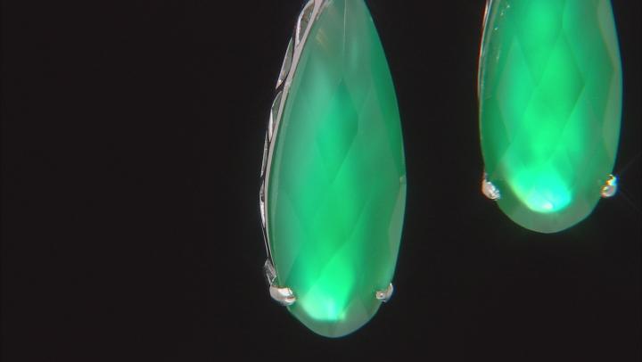 Green Onyx Rhodium Over Sterling Silver Teardrop Earrings