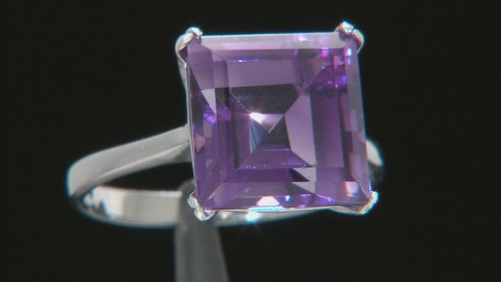 Purple Brazilian Amethyst Rhodium Over Sterling Silver Ring 5.00ct