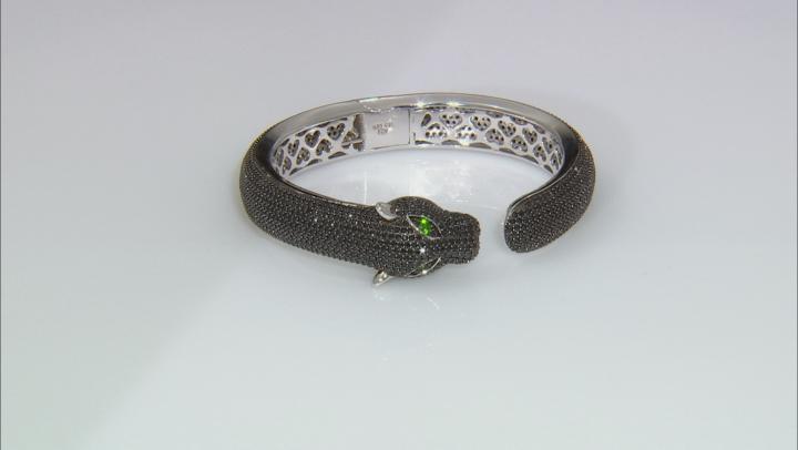 Black Spinel Rhodium Over Sterling Silver Panther Bangle Bracelet 14.39ctw