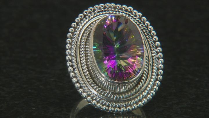 Multi Color Quartz Sterling Silver Solitaire Ring 10.50ctw