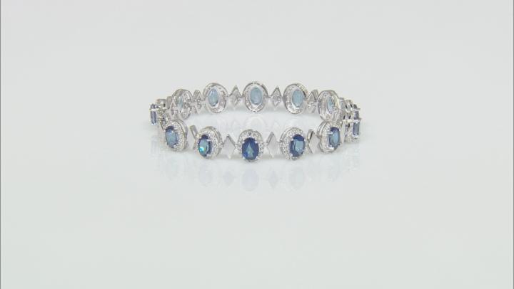 Blue Danburite Rhodium Over Sterling Silver Bracelet 11.75ctw