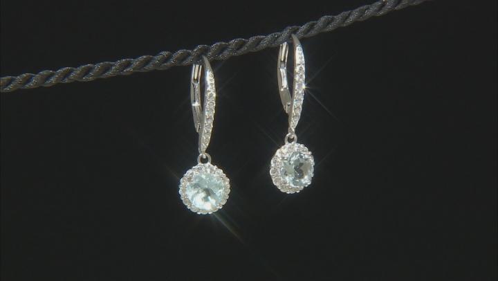 Blue Brazilian Aquamarine Rhodium Over Sterling Silver Dangle Earrings 2.36ctw