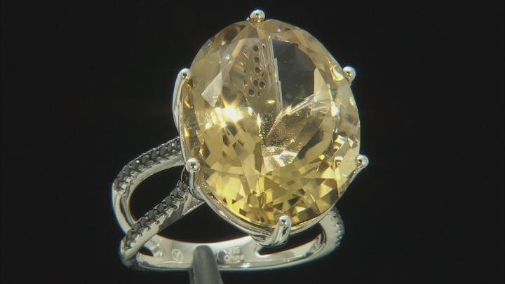 Yellow Brazilian Citrine Rhodium Over Sterling Silver Ring 20.78ctw