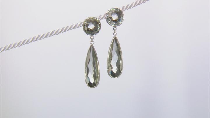 Green Prasiolite Rhodium Over Sterling Silver Dangle Earrings 30.00ctw