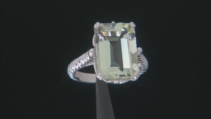Green Brazilian Prasiolite Rhodium Over Sterling Silver Solitaire Ring 7.00ct