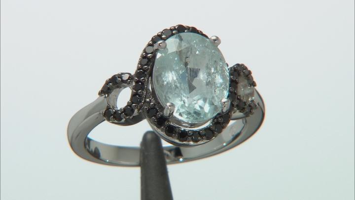 Blue Aquamarine Rhodium Over Sterling Silver Ring 3.50ctw