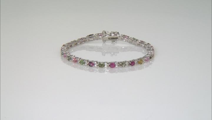Multicolor Tourmaline Rhodium Over Silver Bracelet 5.01ctw