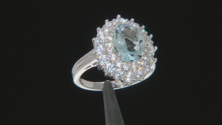 Blue Brazilian Aquamarine Rhodium Over Sterling Silver Ring 4.50ctw