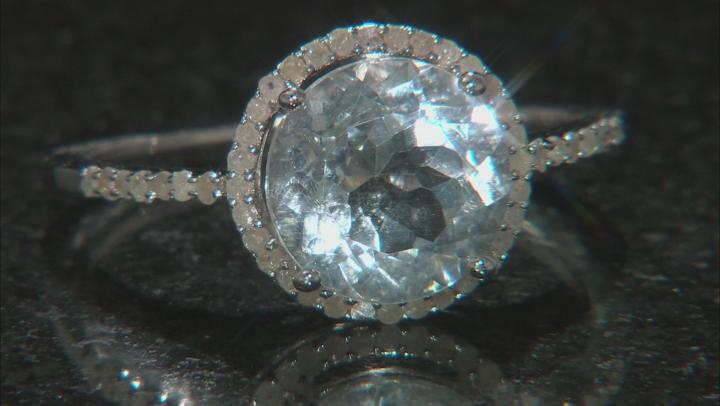 Blue Aquamarine Rhodium Over Silver Ring 3.64ctw