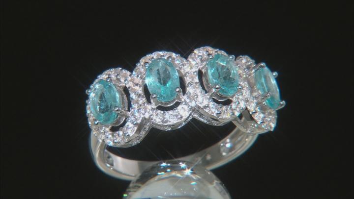 Blue Apatite Rhodium Over Silver Ring 2.90ctw