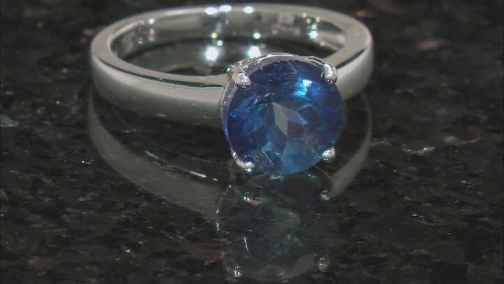 Blue Danburite Rhodium Over Silver Ring 2.95ctw