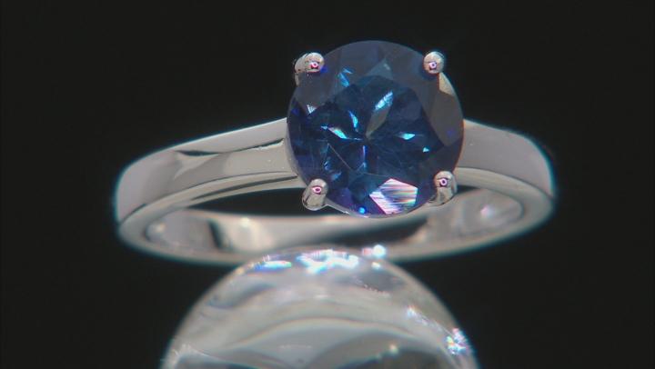 Blue Danburite Rhodium Over Silver Solitaire Ring 2.25ct