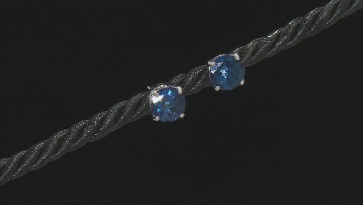 Blue Danburite Rhodium Over Silver Stud Earrings 4.50ctw