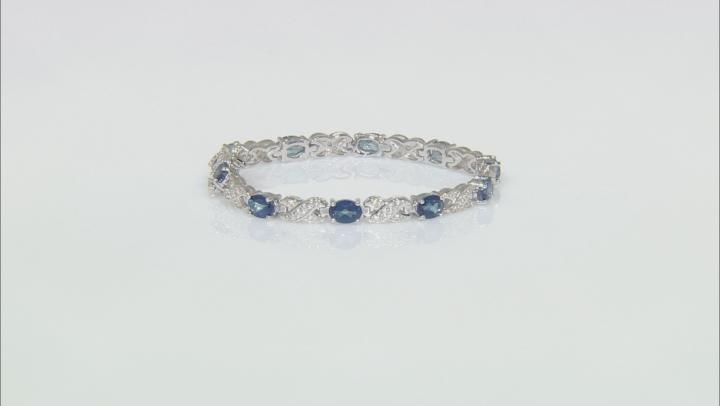 Blue Danburite Rhodium Over Silver Bracelet 7.98ctw
