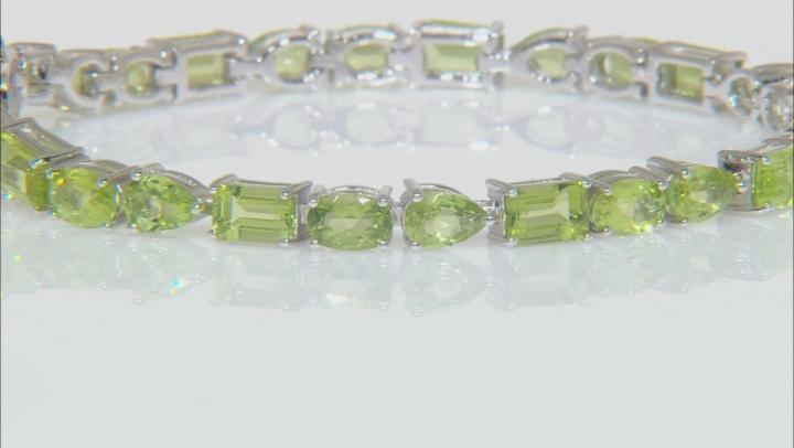 Green Peridot Rhodium Over Silver Bracelet 13.50ctw