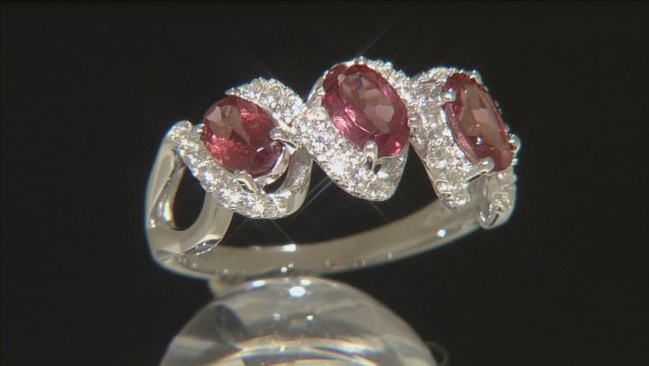 Pink Color Shift Garnet Sterling Silver Ring 1.96ctw