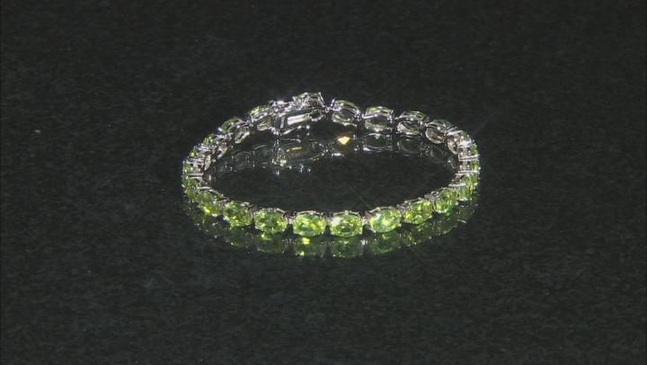 Green Peridot Rhodium Over Sterling Silver Bracelet 20.15ctw