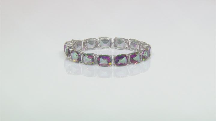 Multicolor Quartz Rhodium Over Sterling Silver Bracelet 66.98ctw