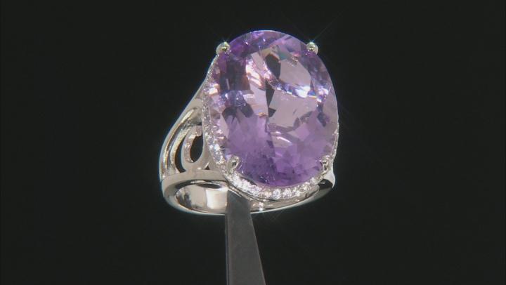Lavender Amethyst Rhodium Over Silver Ring 22.36ctw