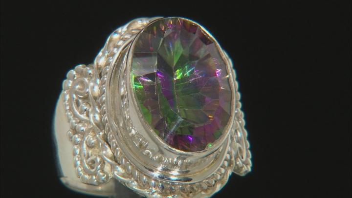 Multicolor Multicolor Quartz Sterling Silver Ring 6.00ct