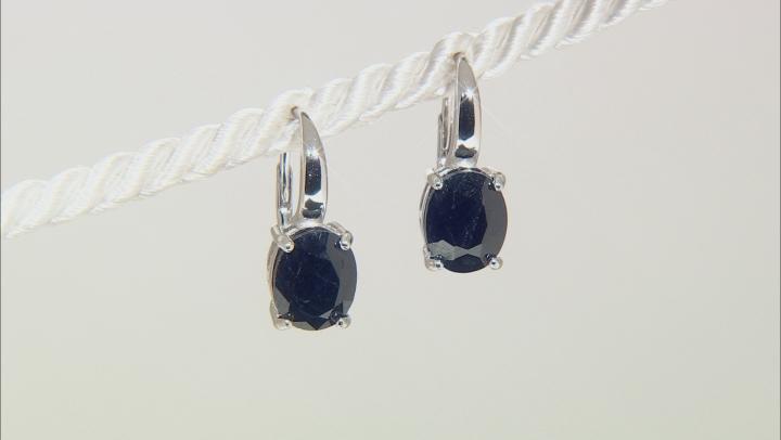 Blue Sapphire Sterling Silver Earrings 6.00ctw