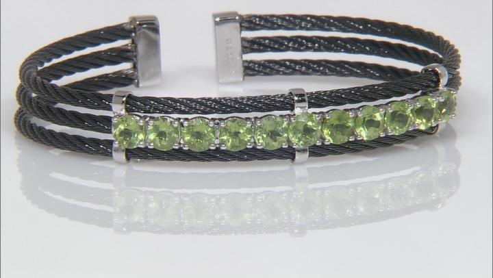 Green Peridot Stainless Steel Cuff Bracelet 5.00ctw