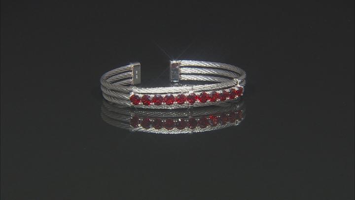 Red Garnet Stainless Steel Cuff Bracelet 6.00ctw