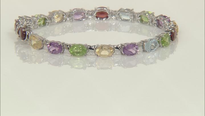 Multi-Gem Rhodium Over Silver Bracelet 15.76ctw