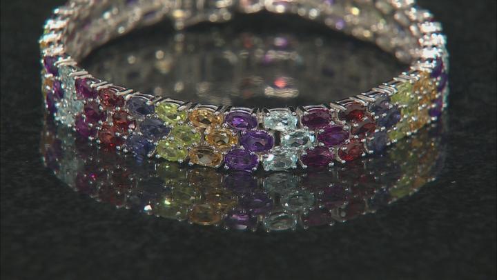 Multi Color Rhodium Over Sterling Silver Bracelet 22.80ctw