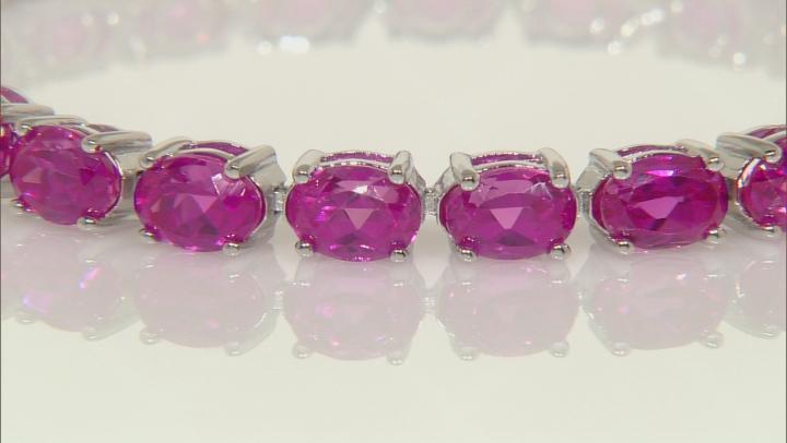 Pink Lab Created Sapphire Rhodium Over Silver Bracelet 28.50ctw