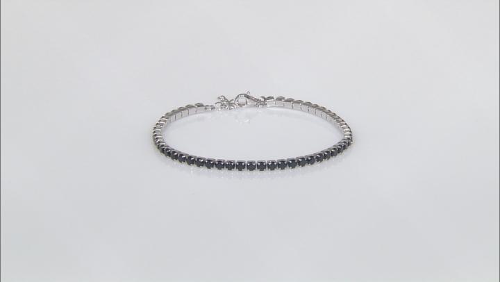Black Spinel Sterling Silver Tennis Bracelet 6.48ctw